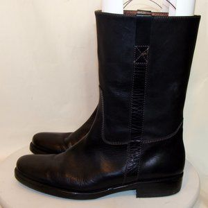 J.CREW WOMENS BLACK LEATHER MOTORCYCLE BOOTS 9.5